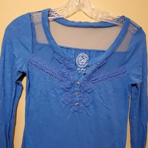 NWOT long sleeve T with mesh and crochet details